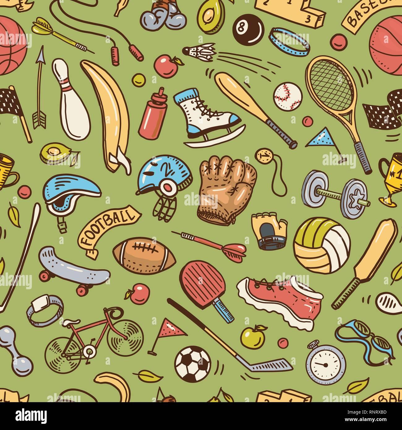 Deporte patrón sin fisuras. Los iconos de estilo del doodle. Equipamiento  para fitness y f392bce90e576