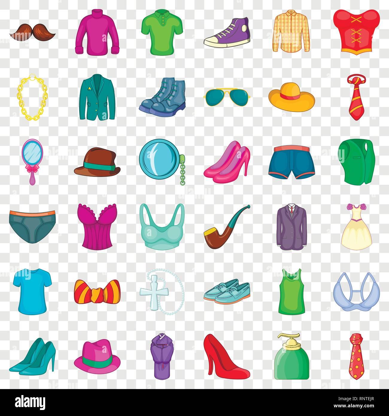 Ropa Y Zapatos El Conjunto De Iconos De Estilo De Dibujos Animados Imagen Vector De Stock Alamy