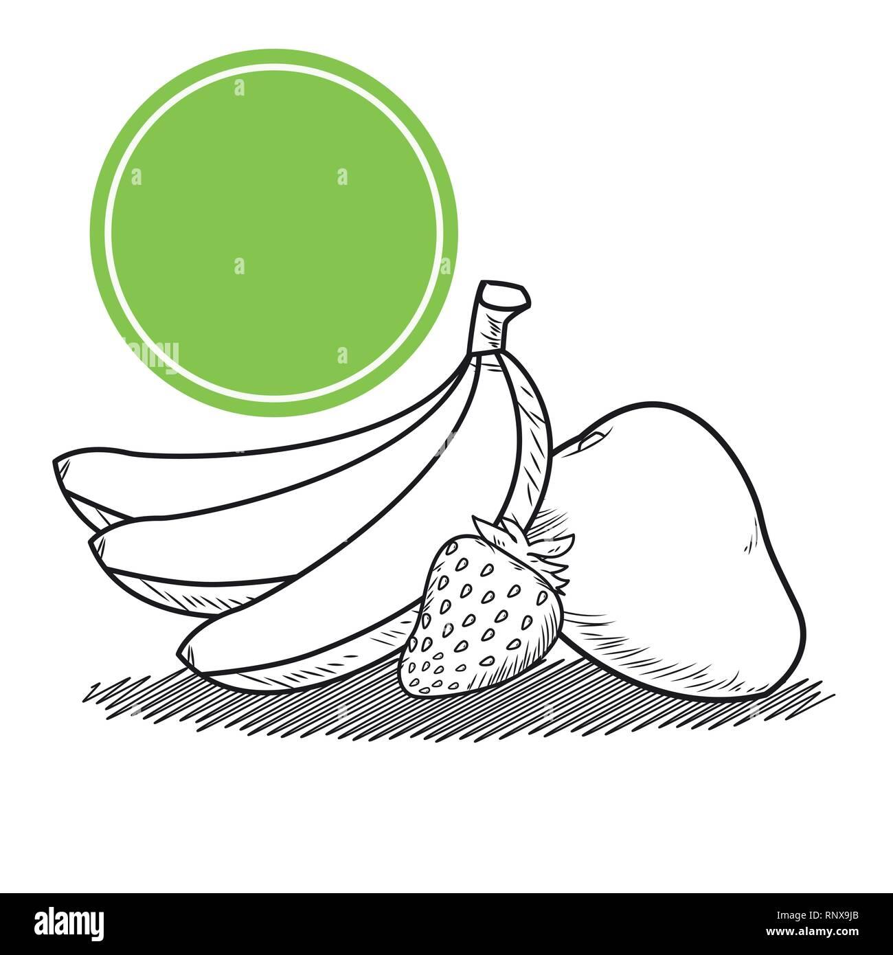 Dibujadas a mano frutas Ilustración del Vector