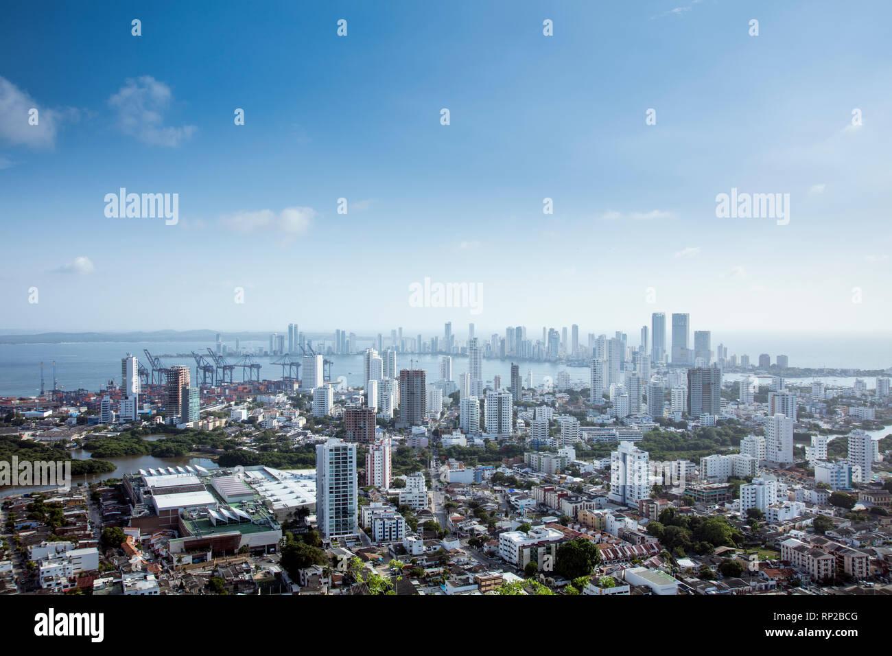 Colombia, Costa Caribe, los distritos centrales de negocios de manga y Bocagrande en el centro de Cartagena Foto de stock