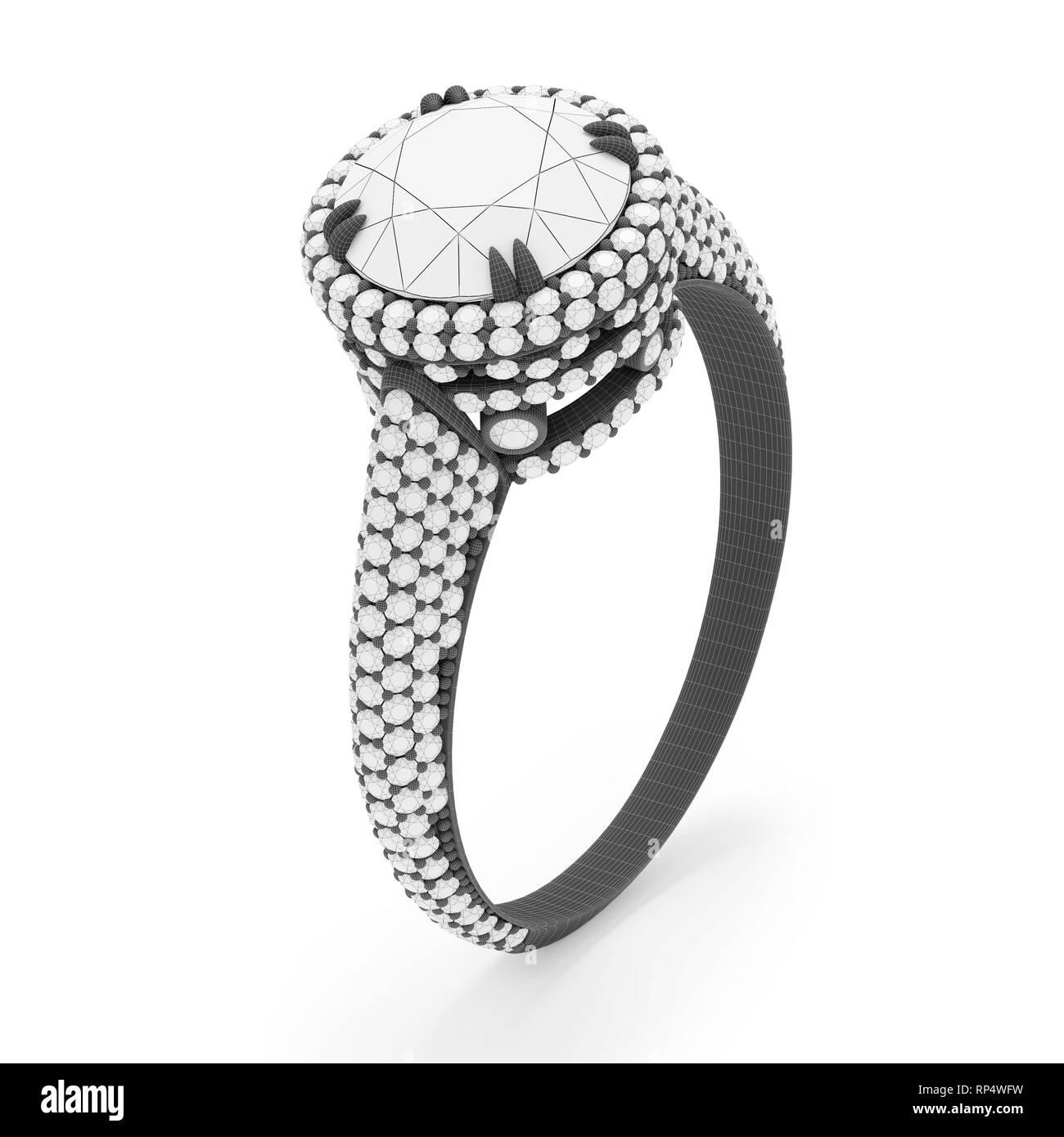 30e6fcb585ab Anillo de joyas con diamantes 3D rendering en gris material de trama.  Imagen De Stock