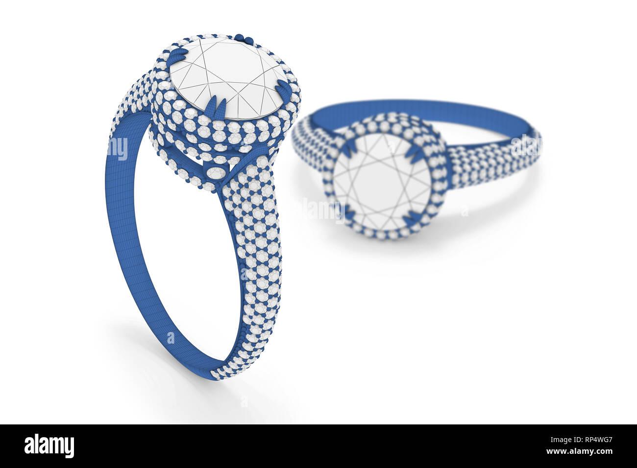 69bd8b343172 Anillo de joyas con diamantes 3D rendering en material de trama Imagen De  Stock