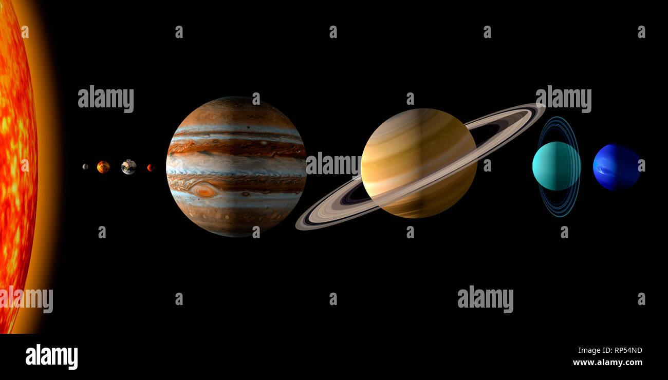 Sol Y Los Ocho Planetas Del Sistema Solar Sobre Fondo Negro Ilustración 3d Realistas De La Representación Del Tamaño De Planetas Espacio De Copia Fotografía De Stock Alamy