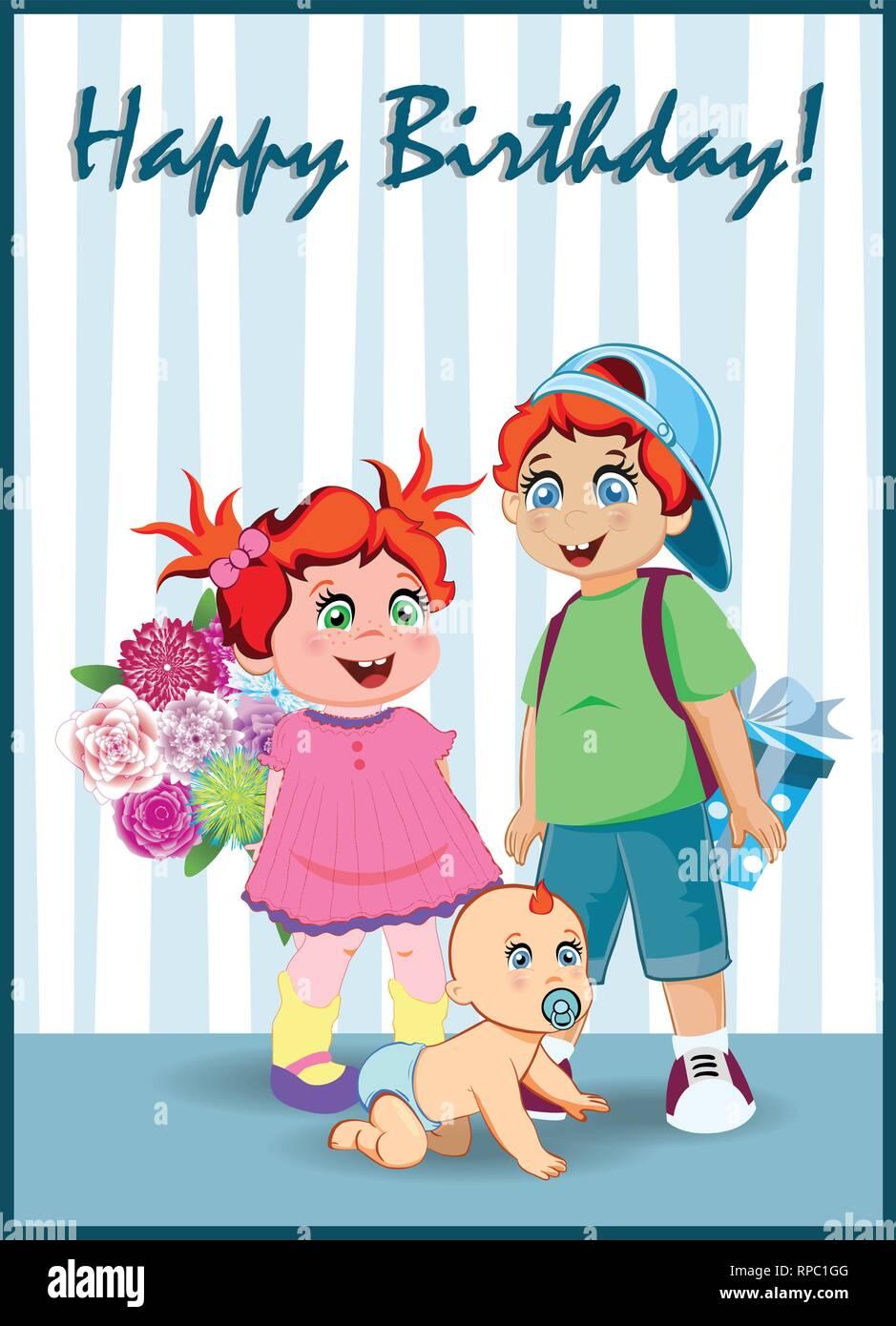 8939af213 Tarjeta de felicitación de cumpleaños feliz de caricatura Kids personajes  sosteniendo gran caja de regalo y