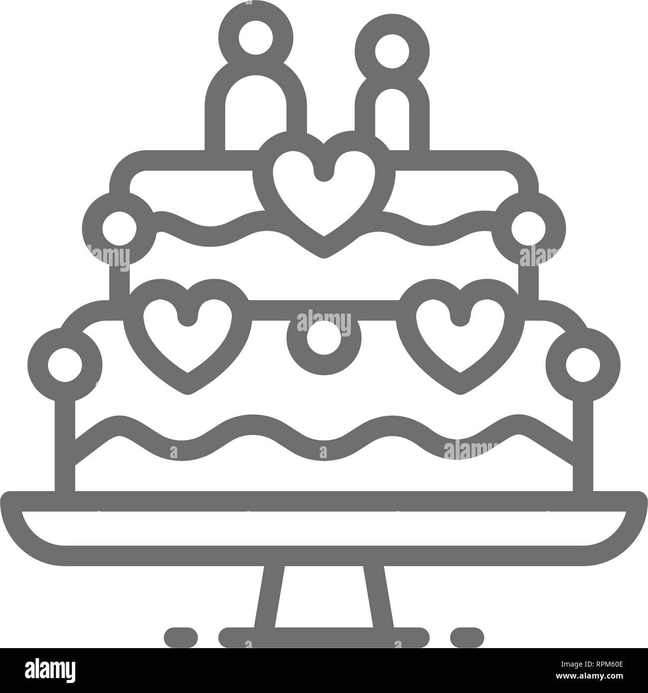 8822f1dc4d Pastel de boda con figuras de novios icono de línea Ilustración del ...