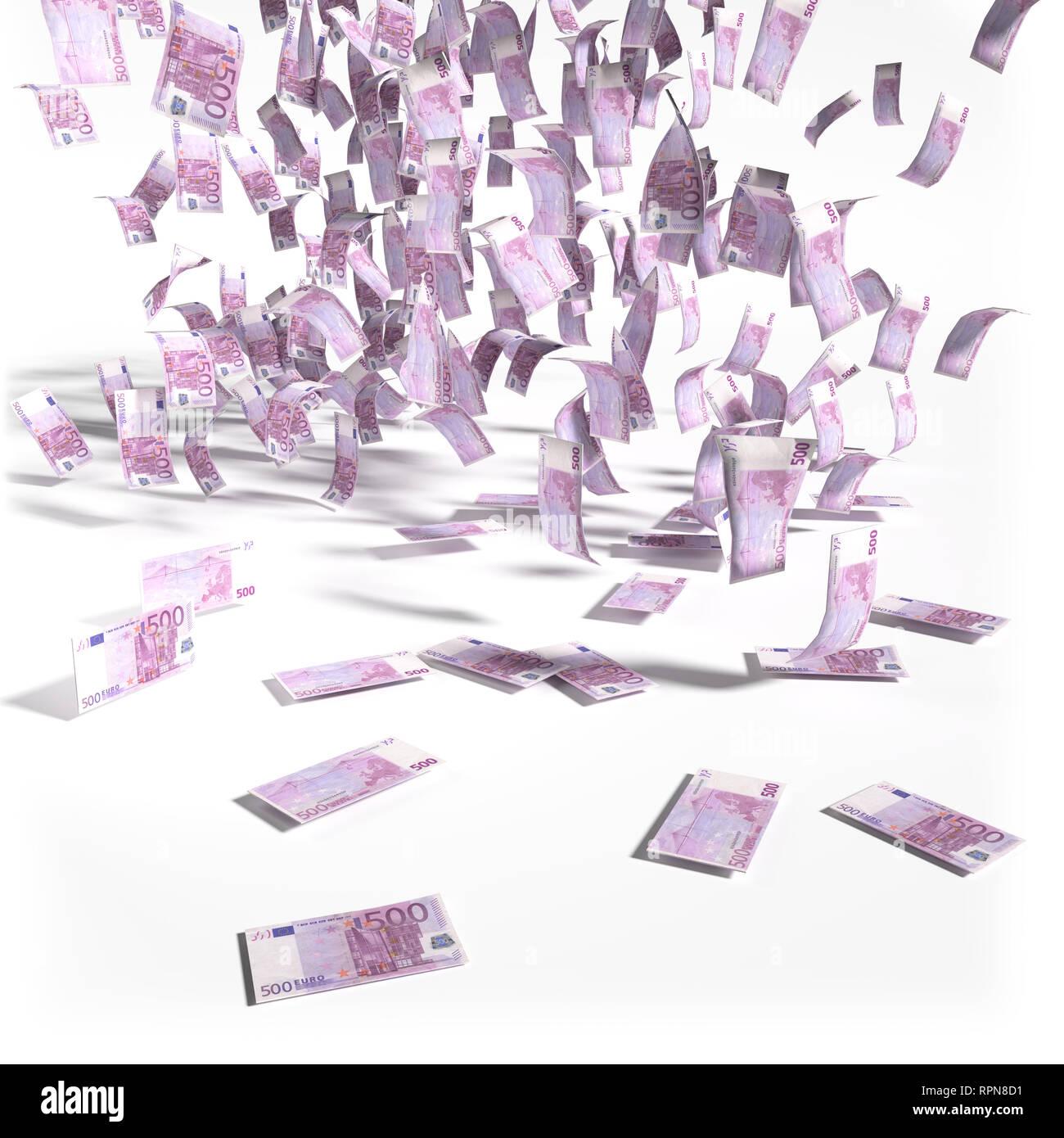 Lluvia De Dinero De Quinientos Euros Billetes Y Big Money Fotografia De Stock Alamy