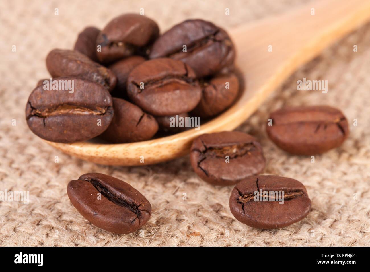 Los granos de café en una cuchara de madera de cilicio Foto de stock