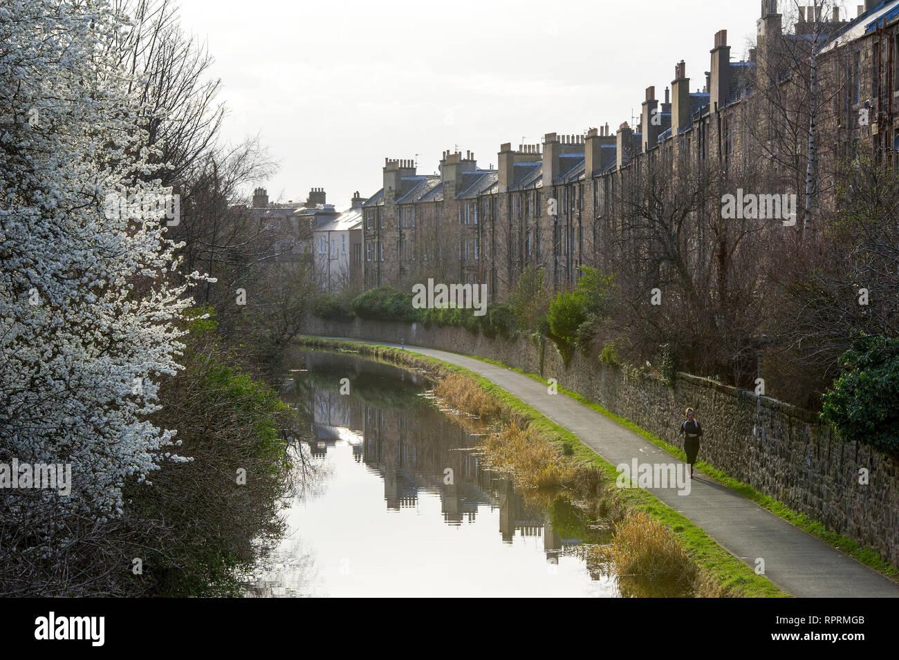 El Union canal en Viewforth, Edimburgo. Foto de stock