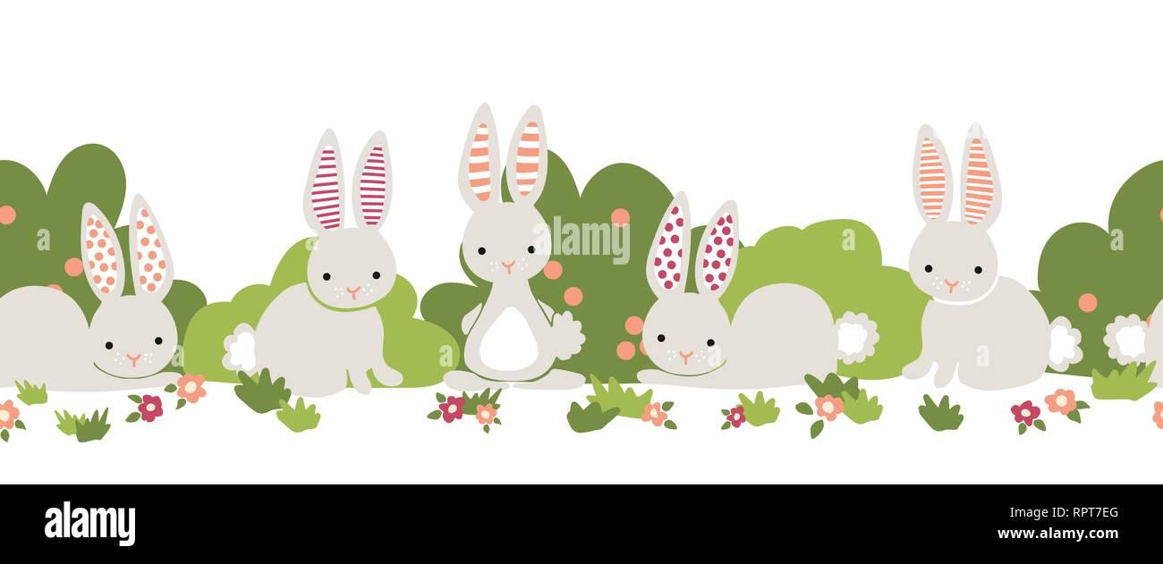 Bunny Seamless Vector Frontera Lindos Conejitos Arbustos