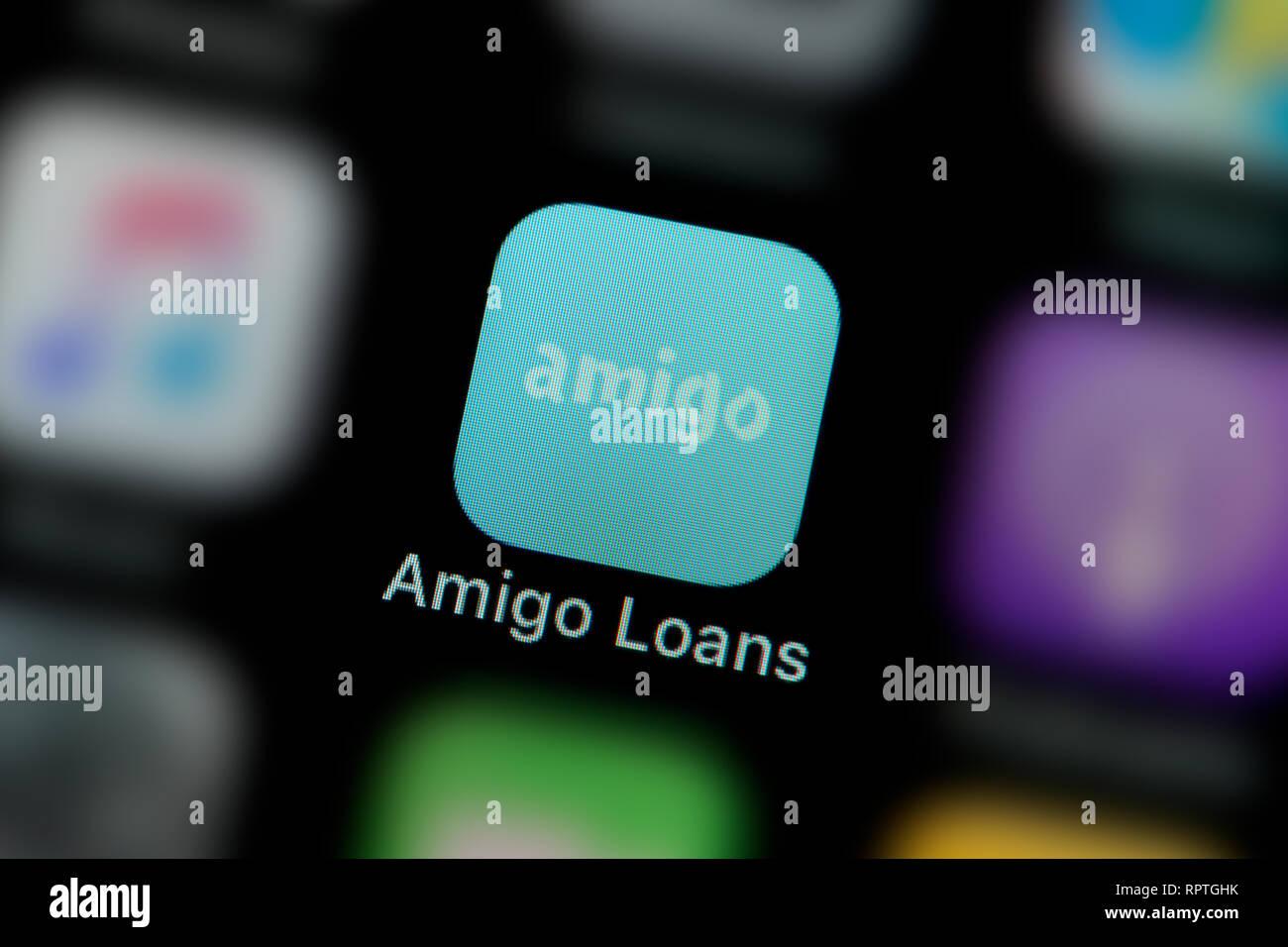 Un primer plano del Amigo préstamos app icono, como se ve en la pantalla de un teléfono inteligente (uso Editorial solamente) Imagen De Stock