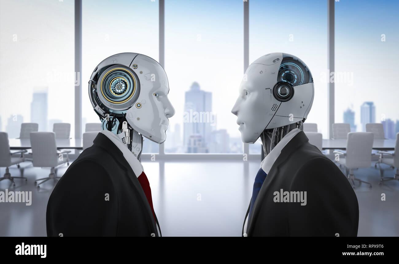 Concepto de enfrentamiento con tecnología 3D rendering robotic empresario confrontar en Office Foto de stock