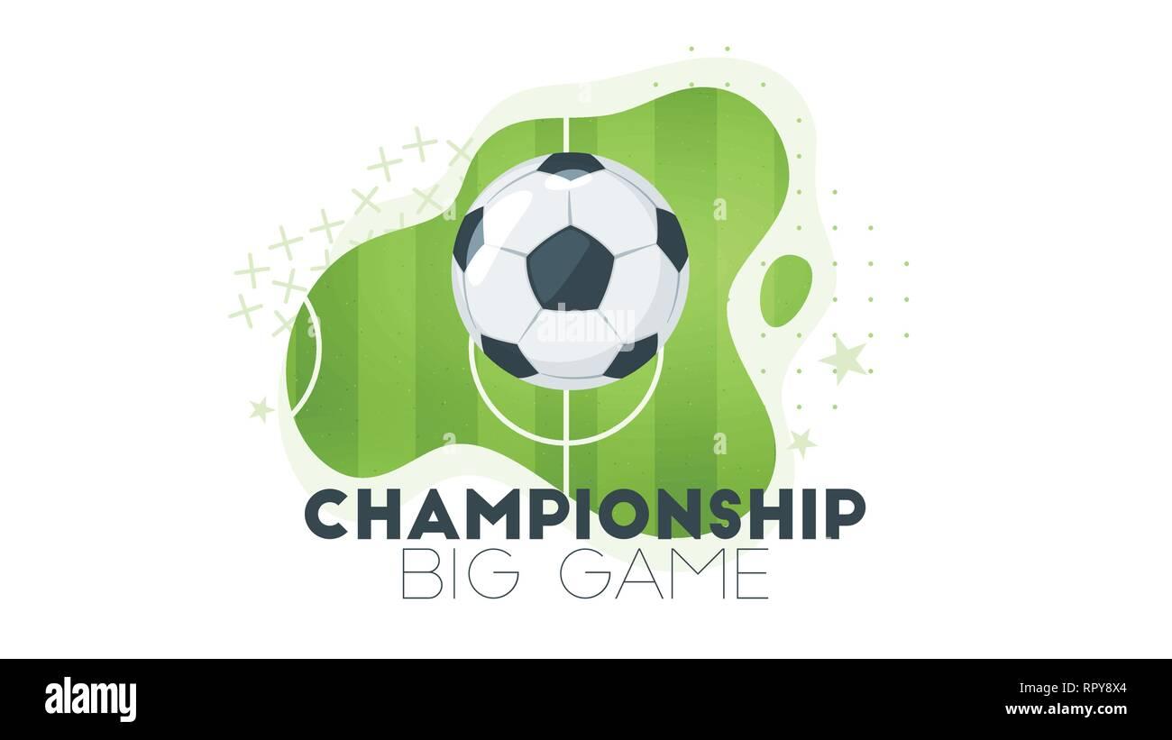 Campeonato de fútbol o elemento de diseño de la tarjeta. Plantilla de  título de fútbol con pelota de cuero y campo verde. Ilustración vectorial. 43d51705c8092