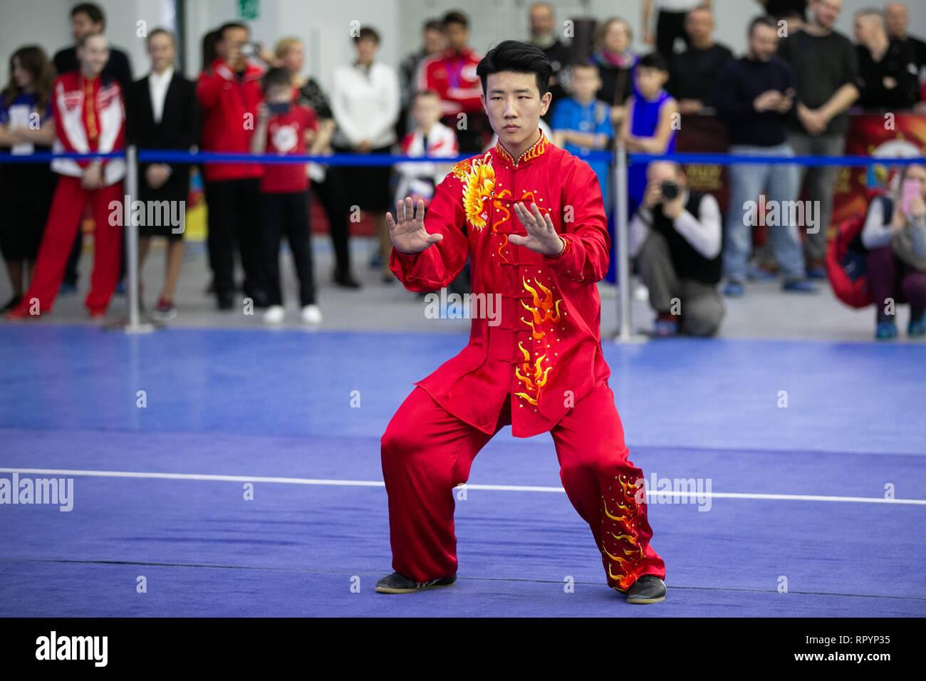 Moscú, Rusia. 23 Feb, 2019. Un competidor realiza durante la ceremonia de apertura de la Moscú Wushu Stars 2019 competencia en Moscú, Rusia, el 23 de febrero, 2019. Crédito: Bai Xueqi/Xinhua/Alamy Live News Foto de stock