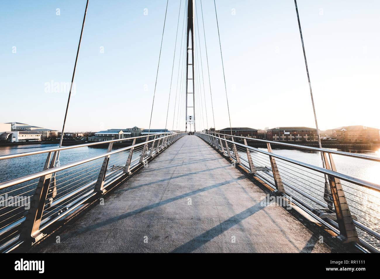 Puente de infinito en Stockton-on-Tees, Inglaterra Foto de stock