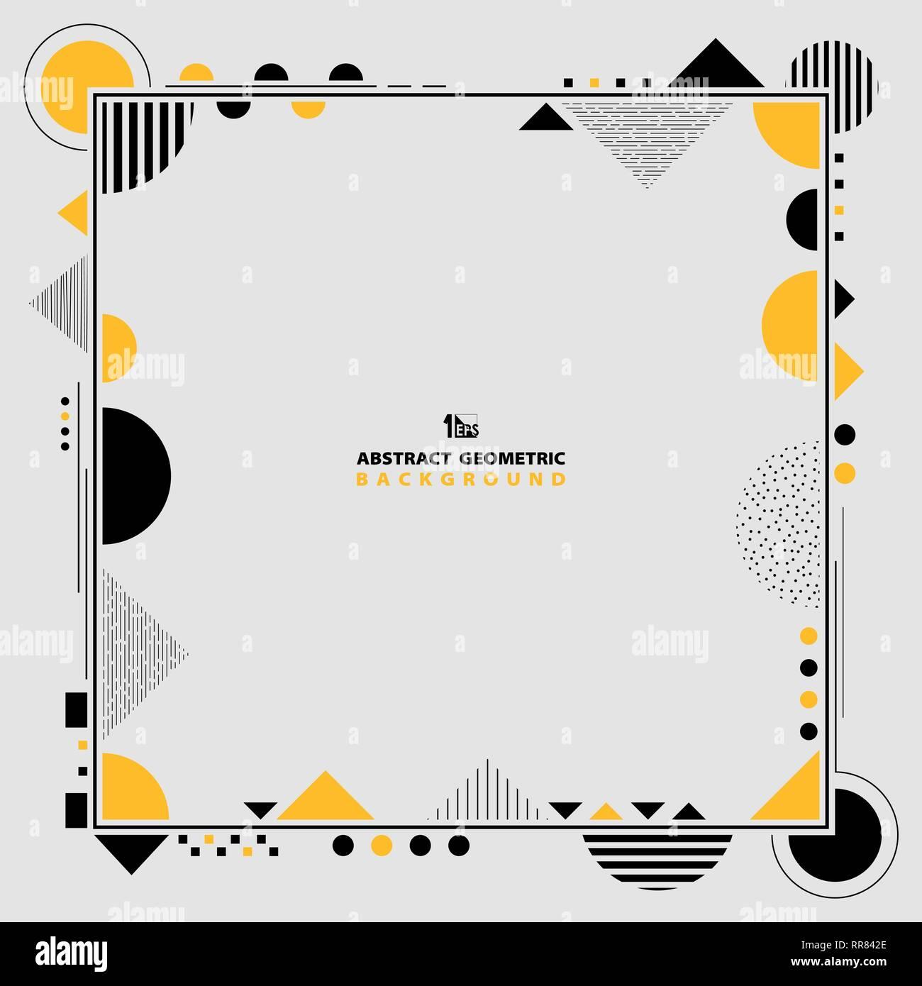 Moderno abstracto geométrico de color amarillo y negro bastidor en forma de ilustraciones. Puede utilizar para idea diseño decorativo, carteles, anuncios, cubierta, informe10 vectoriales EPS. Imagen De Stock