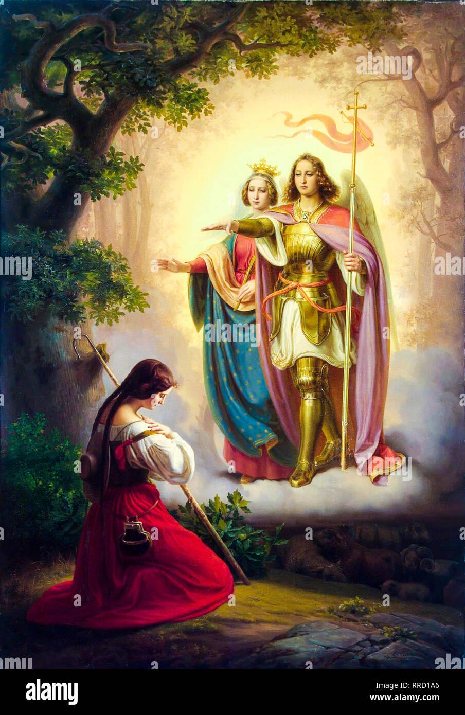 Apariencia de Santa Catalina y San Miguel a Juana de Arco, 1843 pintura de Hermann Stilke Imagen De Stock