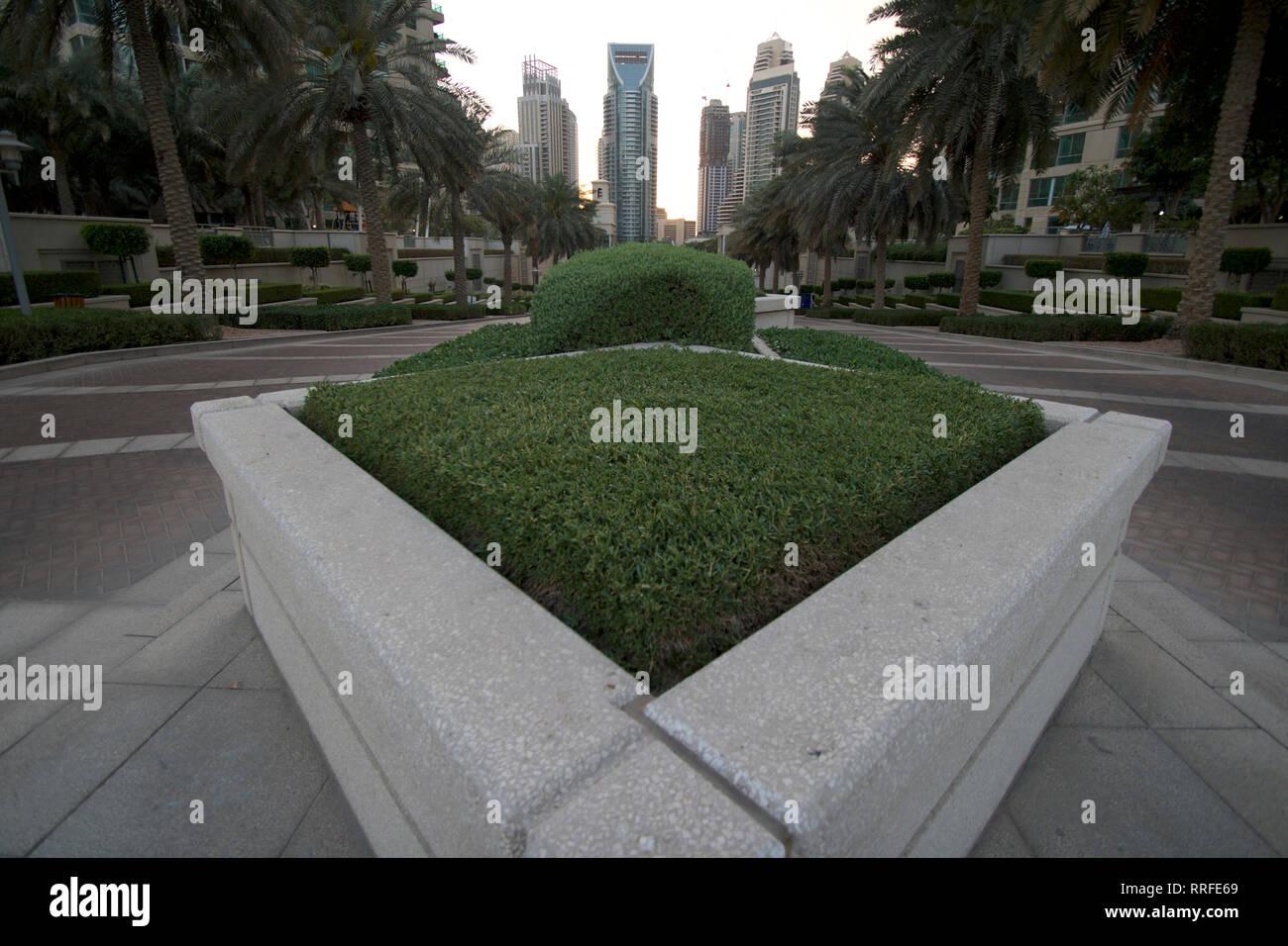 Marina Dubai-Entrance paseo alto Imagen De Stock