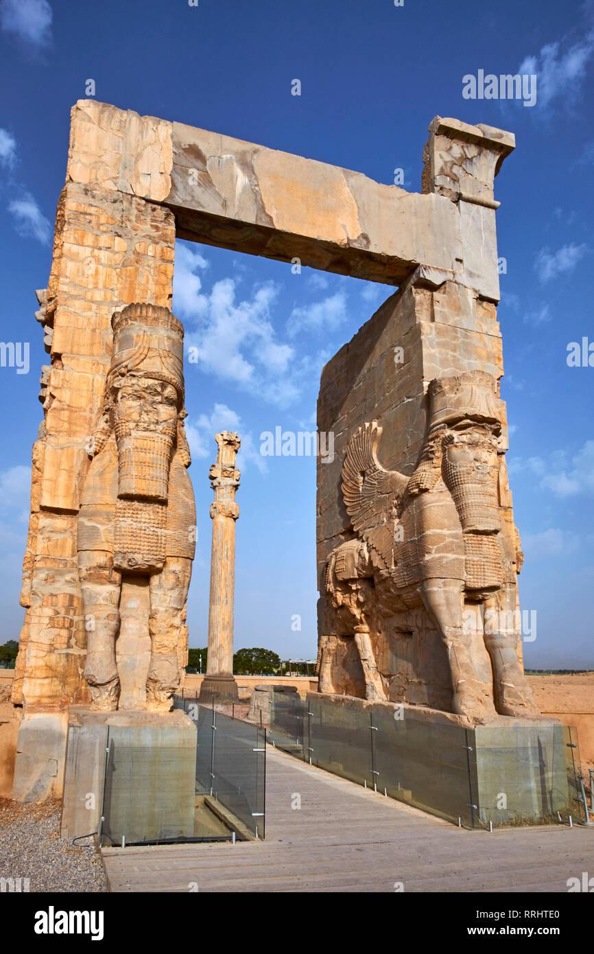 Sitio arqueológico, Propylon aqueménida, Puerta de todas las naciones, Persépolis, Sitio del Patrimonio Mundial de la UNESCO, provincia de Fars, Irán, Oriente Medio Foto de stock