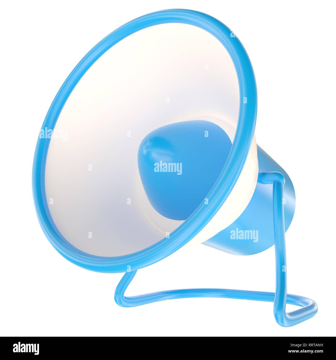 Alerta azul alarma megáfono anunciar aislado en blanco. Bocina de altavoz azul y blanco. Ilustración 3D Imagen De Stock