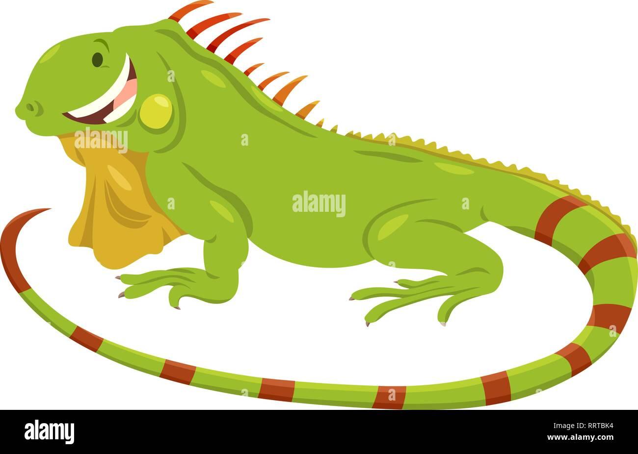 Ilustración De Dibujos Animados Cute Iguana Verde Personaje Animal