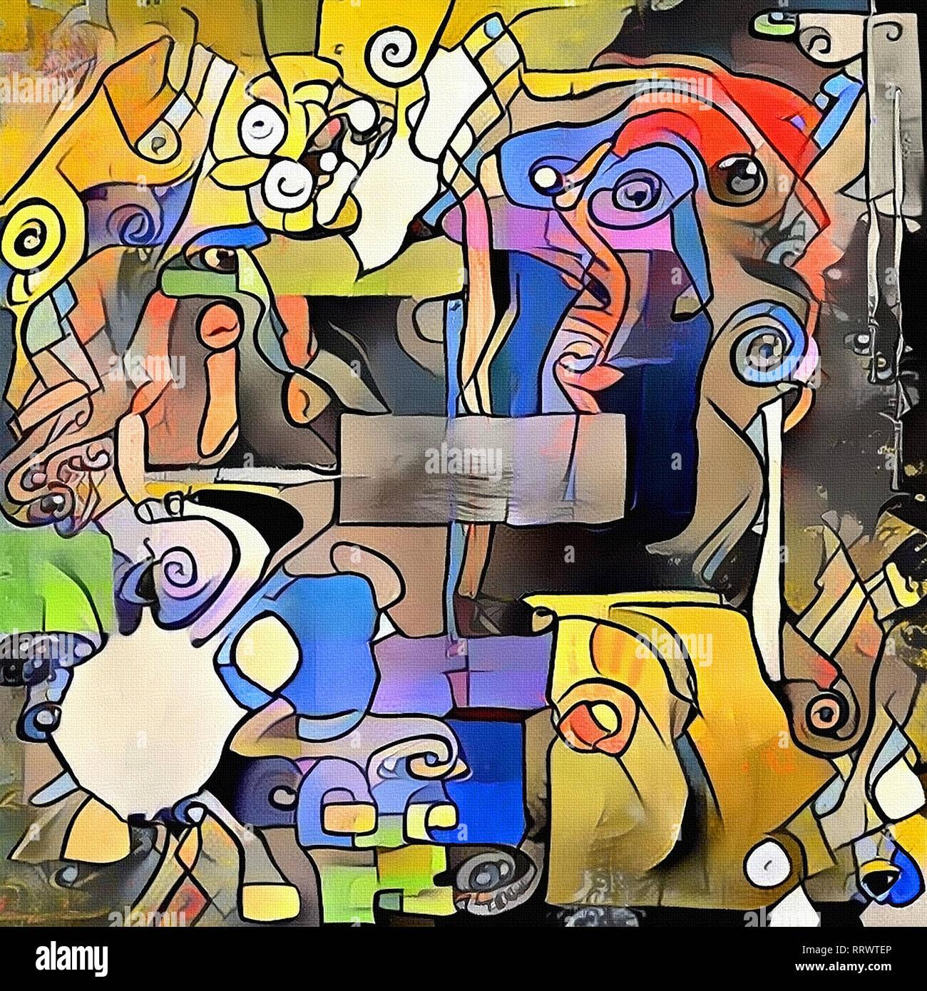 Tendencia clásica de la pintura abstracta. Ejercicios para la imaginación Foto de stock