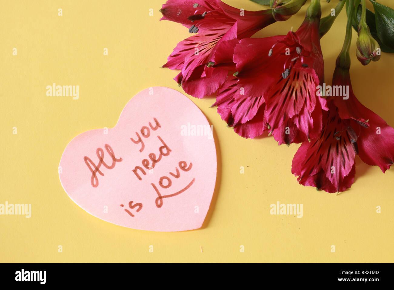 Todo lo que necesitas es amor ... Foto de stock