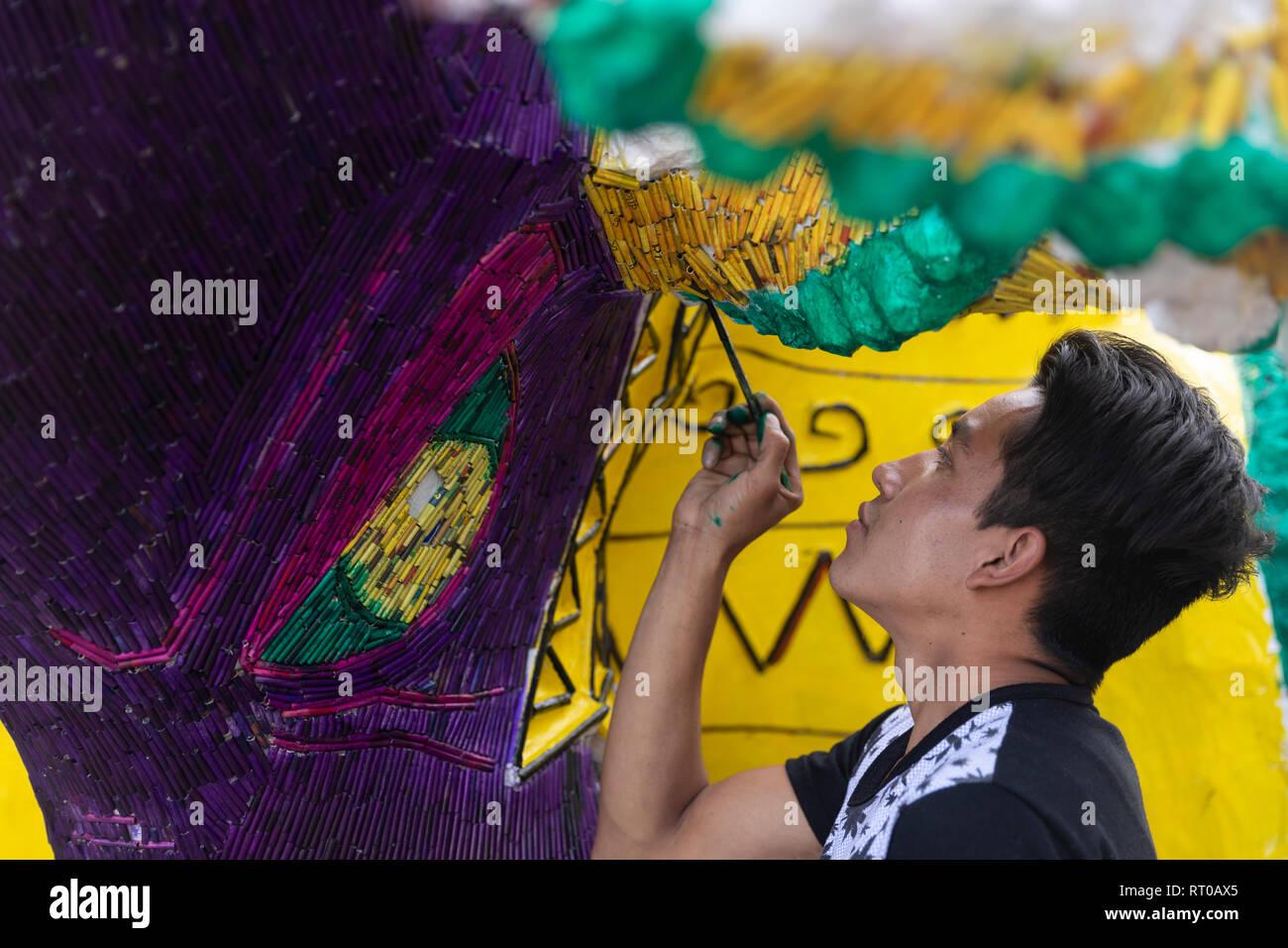 El 8 de marzo es la fecha para la quema de toros, un acto de la pirotecnia Nacional Festival que tiene lugar anualmente en Tultepec, Estado de México. Imagen De Stock