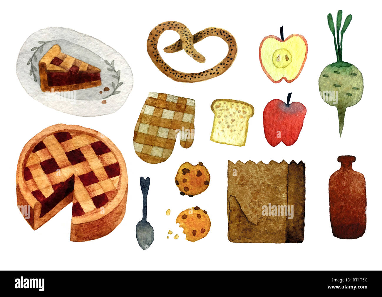 Conjunto de objetos dibujados a mano acuarela aislado sobre fondo blanco para el patrón, invitación, postal, textiles, tejidos. Imagen De Stock