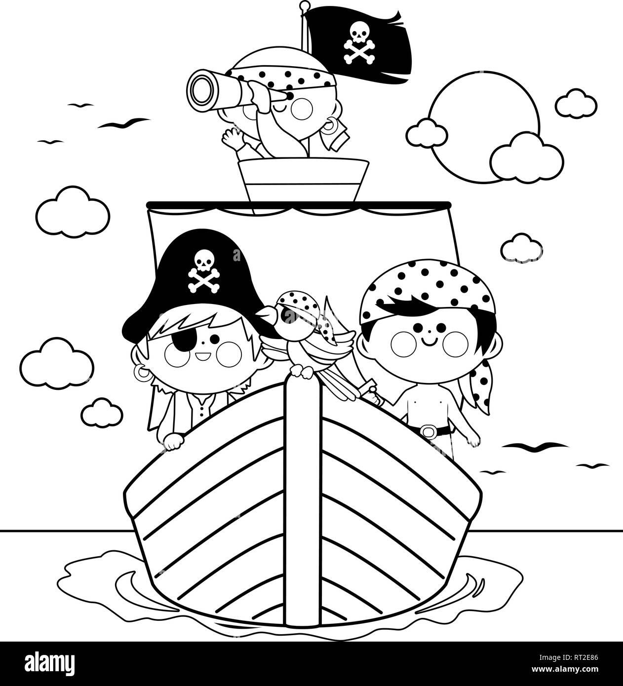 Piratas Navegando En Un Barco En El Mar Libro Para Colorear