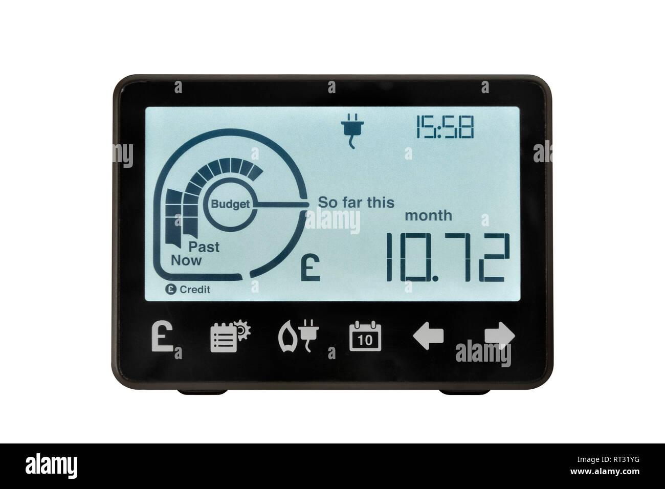 Medidor inteligente, Reino Unido. Un dispositivo electrónico para el registro y control del consumo de electricidad en el hogar. Imagen De Stock