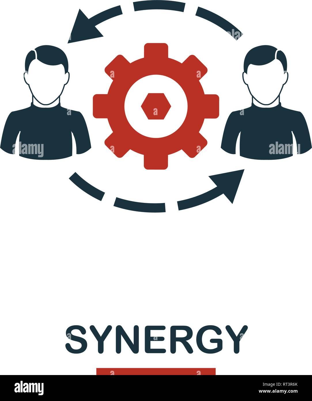 Icono de sinergia. Diseño de estilo Premium icono de un equipo de trabajo conjunto. UI y UX. Pixel Perfect sinergia icono de diseño web, aplicaciones, software, uso de impresión. Imagen De Stock