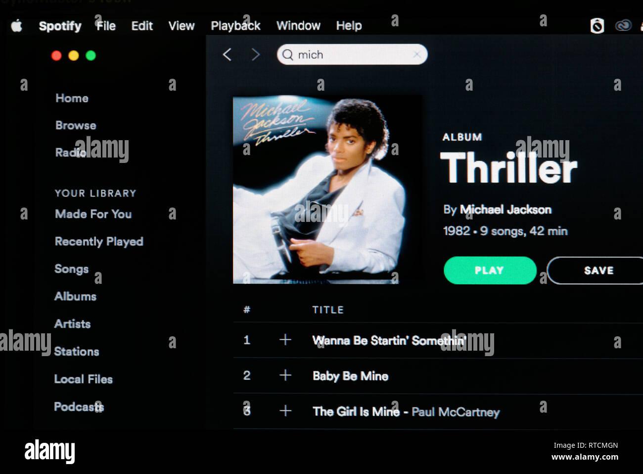 Michael Jackson Thriller álbum Spotify página Imagen De Stock