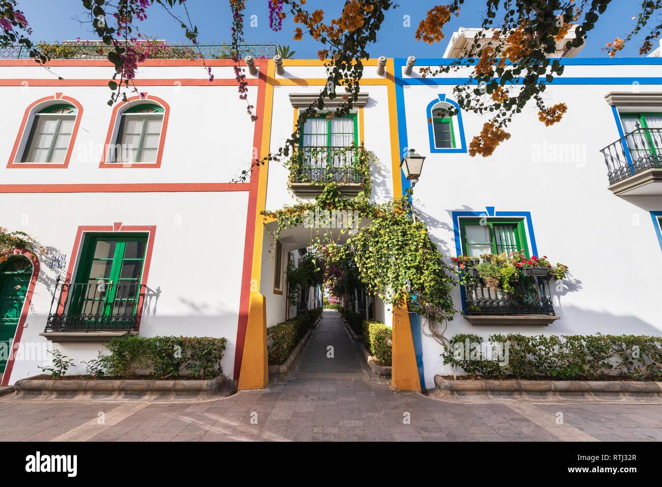 Puerto de Mogan, hermoso destino turístico en Gran Canaria, Islas Canarias, España . Foto de stock