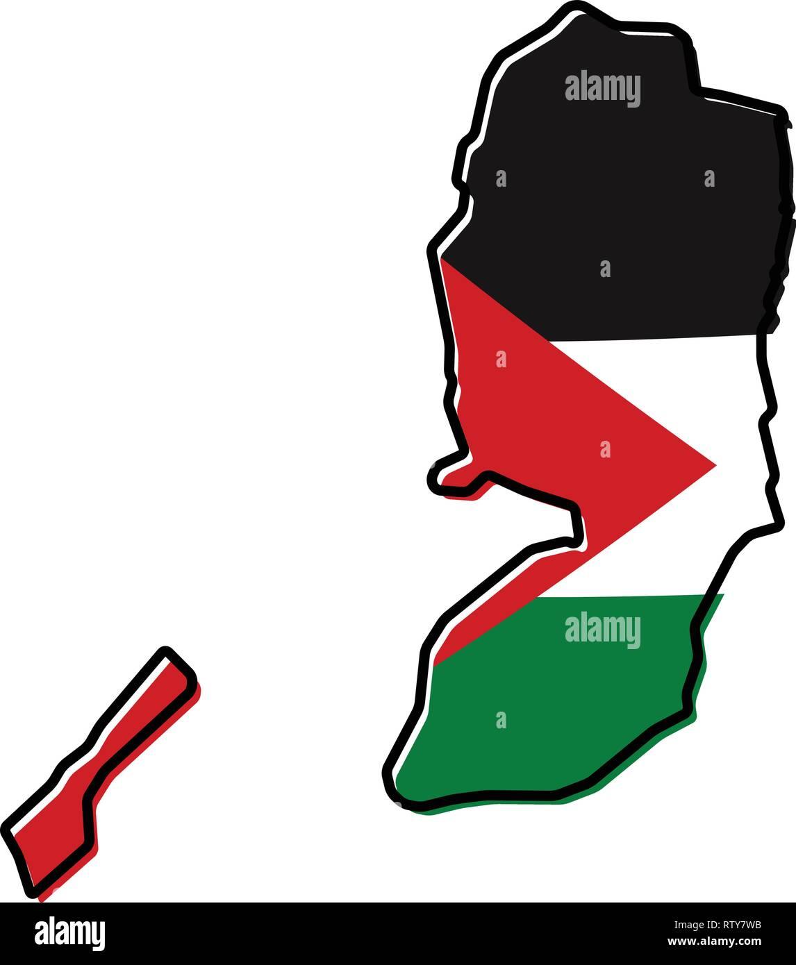 Franja De Gaza Mapa.Mapa Simplificado De Palestina Cisjordania Y La Franja De