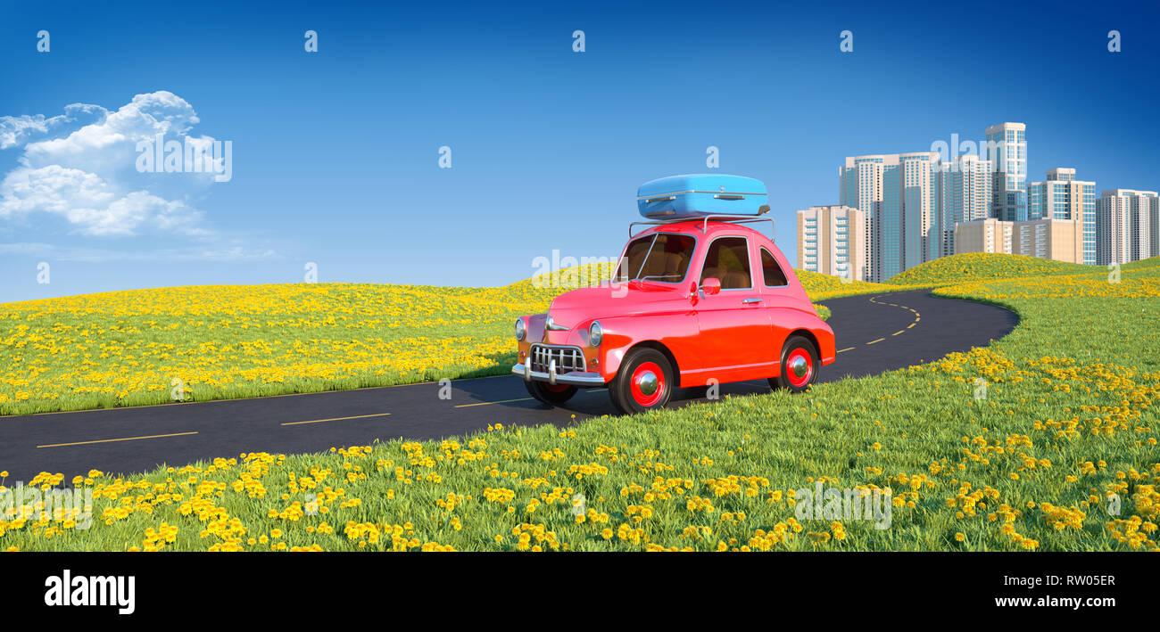 Cartoon retro coche con laggage en la parte superior. Ilustración 3D Imagen De Stock