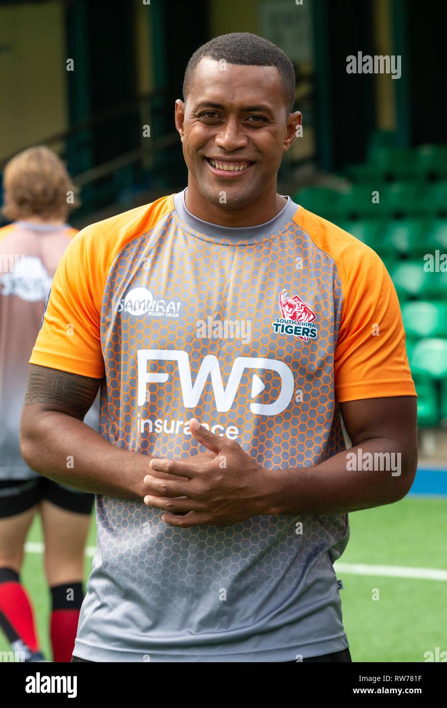 HONG KONG, REGIÓN ADMINISTRATIVA ESPECIAL DE HONG KONG, CHINA. El 5 de marzo de 2019. Fiji Viriviri Samisoni. Lanzamiento de tigres del sur de China equipo de rugby profesional para jugar en el torneo de rugby rápido Global. Fiji Viriviri Samisoni FWD se une a los tigres del sur de China, un nuevo equipo de profesionales jugando en el Mundial de Rugby rápido. Viriviri, medallista de oro de 7's en los Juegos Olímpicos de Río de Janeiro, ha jugado para equipos franceses Montpelier y Montauban pero la mayoría sabe a sietes jugador del año 2014. Viriviri aguarda con interés el nuevo torneo de rugby profesional rápido con los próximos partidos escaparate de Asia y Australia. Rápido fue conce de Rugby Foto de stock
