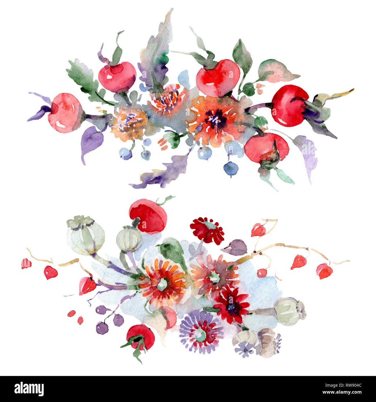 Bouquet De Flores Y Frutas Hoja De Primavera Salvaje