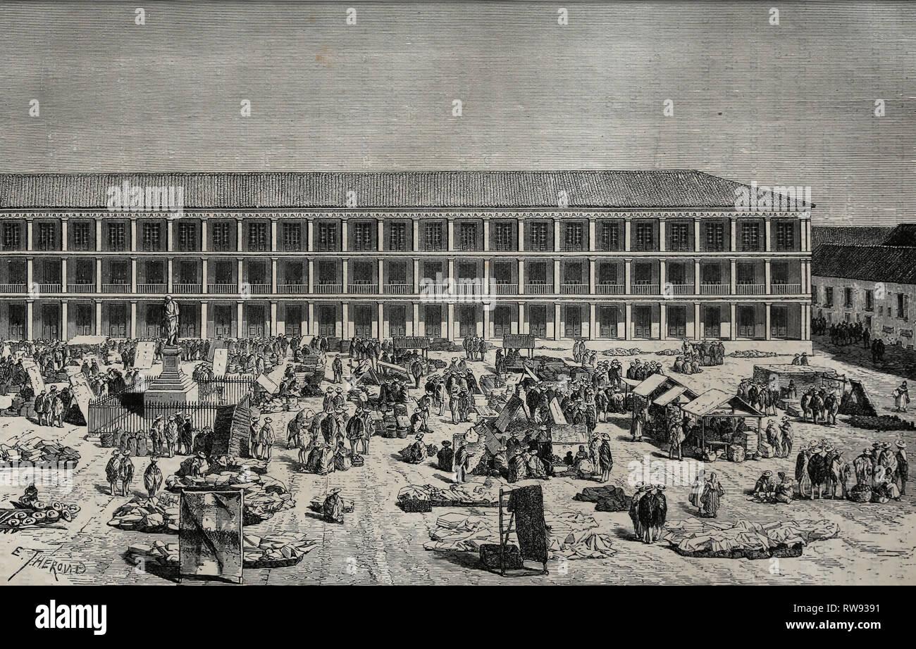 América. Columbia. Santafe de Bogota. La casa de la ciudad. Grabado, 19c.equinoccial americana por Ed. Andre. Imagen De Stock