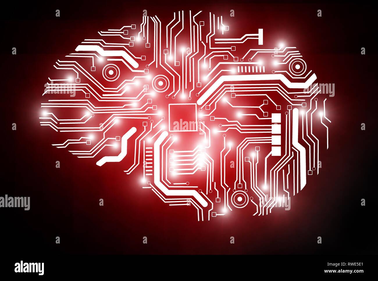 Representación 3D de una imagen conceptual que representa la Inteligencia Artificial. Imagen De Stock