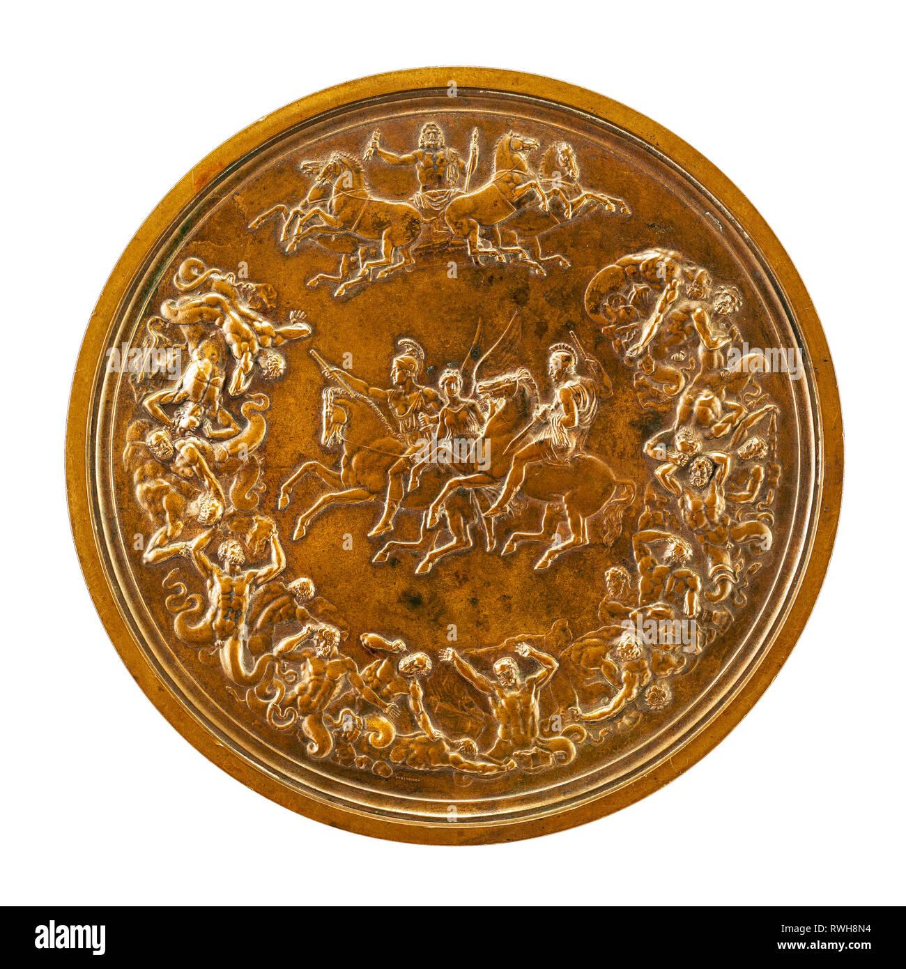 El medallón de Waterloo, trasero, Benedetto Pistrucci, 1861 Imagen De Stock