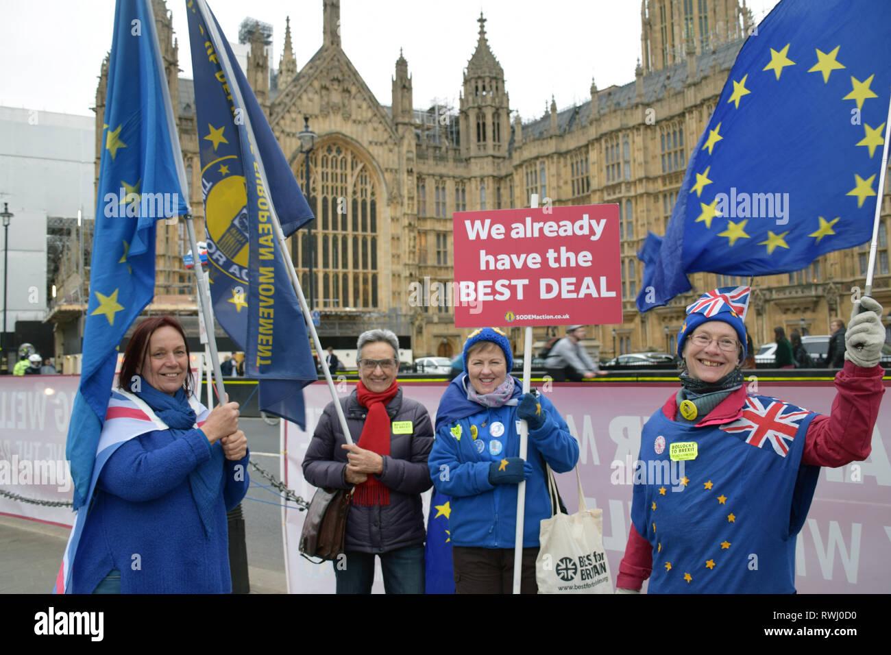 Protesta parlamentaria diaria por SODEM - Stand de desafío el Movimiento Europeo que fue iniciado por Stephen Bray en 2017 en protesta por Brexit. Cada día Imagen De Stock