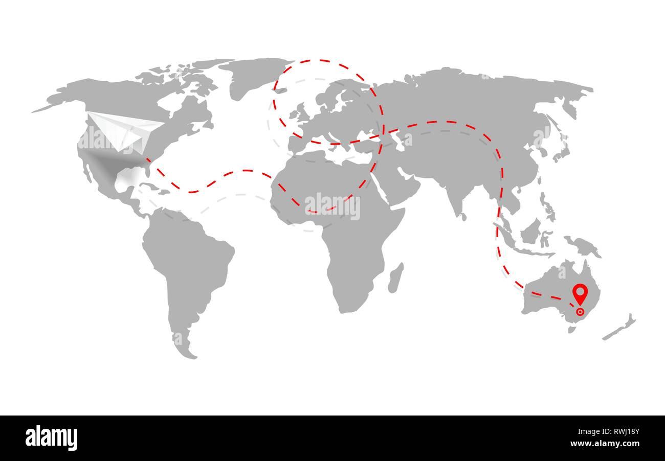 3934ab9c5c La ruta del avión en forma de línea discontinua en el mapa del mundo. Ruta de  avión de papel con el mapa del mundo aislado sobre fondo blanco. Vector.