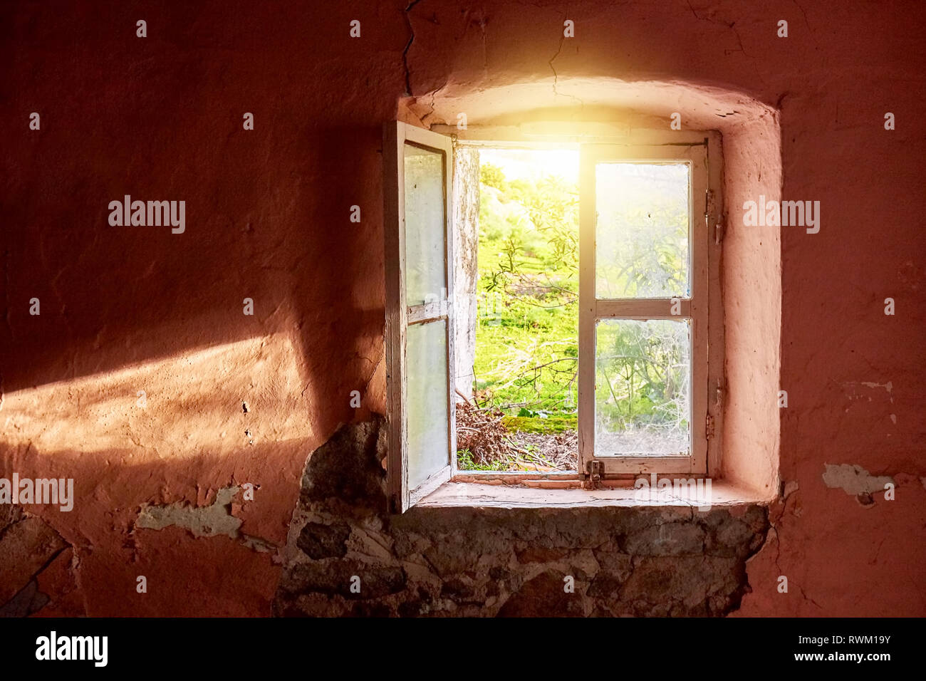 Bright Bonito Antiguo Marco De Madera Para Foto Vidrio Con Imagen Paisaje Castillo Espejos Muebles Antiguos Y Decoración