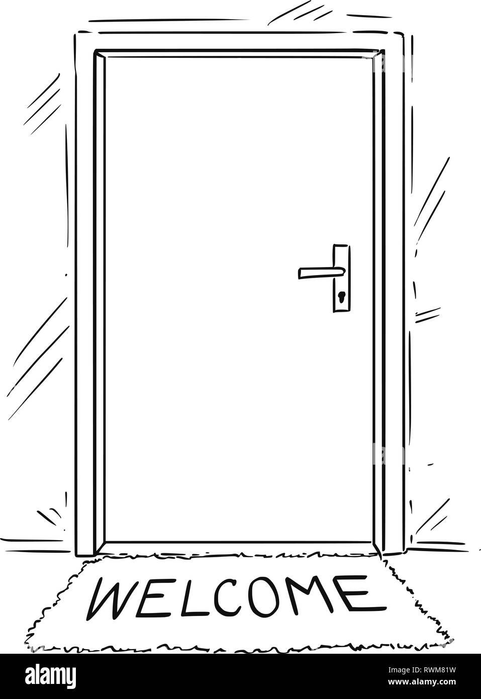 Caricatura Dibujo de puerta cerrada con texto de bienvenida