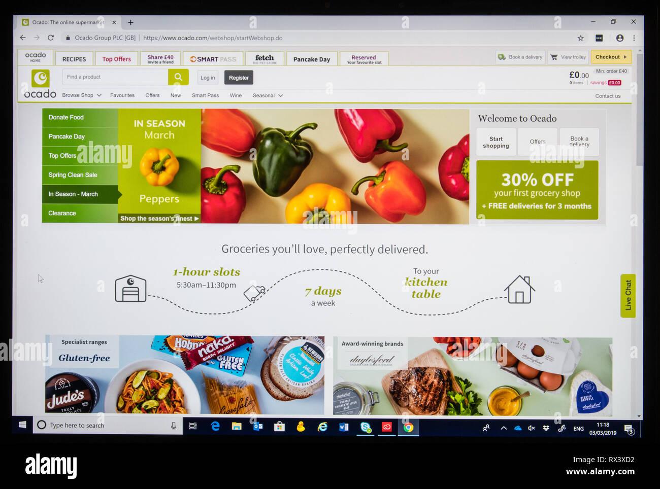 Compras en línea Ocado captura de pantalla mostrando los pimientos Imagen De Stock