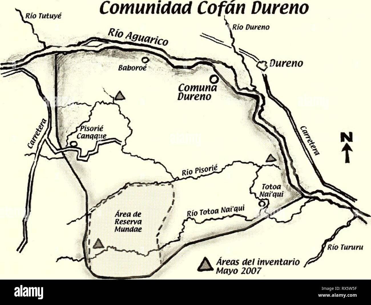 Ecuador territorio Cofán Dureno Ecuador : territorio Cofán Dureno ecuadorterritor192007borm Año: 2007 Conservación en Dureno ESTATUS ACTUAL El pueblo Cofán recibió el título oficial de las 9,469 hectáreas del territorio Dureno en 1978. Su lucha por defender su territorio ancestral de los cambios dramáticos arrasando la zona ya había empezado años atrás, en la década de los 60s. La presión sobre el Territorio Dureno real, que ahora es un fragmento de bosque aislado, sigue aumentando. En el año 2005, los Cofán implementaron anu zonificación en su territorio, en la cual establecieron anu zon Imagen De Stock