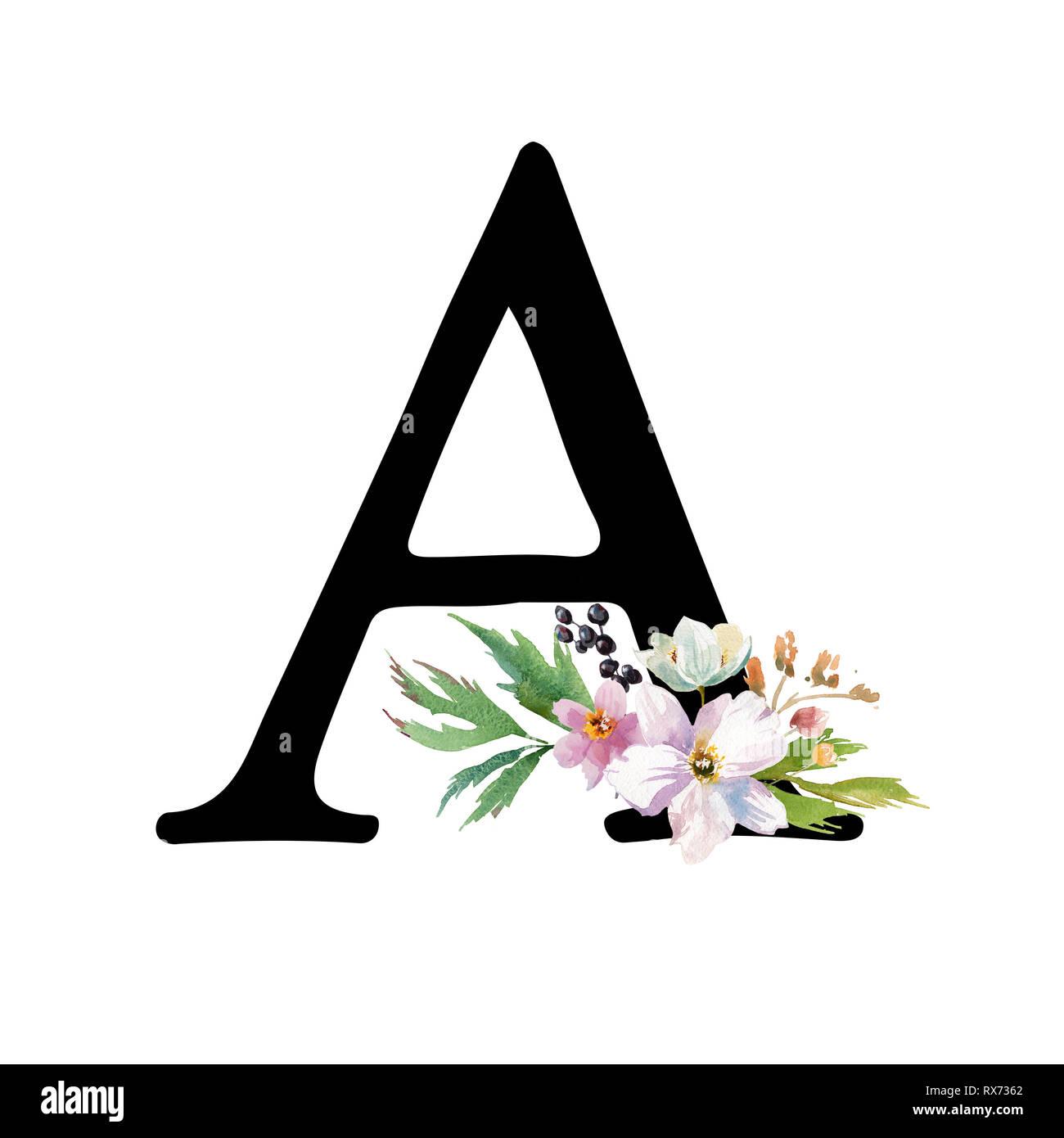 Letra Negra Romántica Una Acuarela Dibujada Con Flores