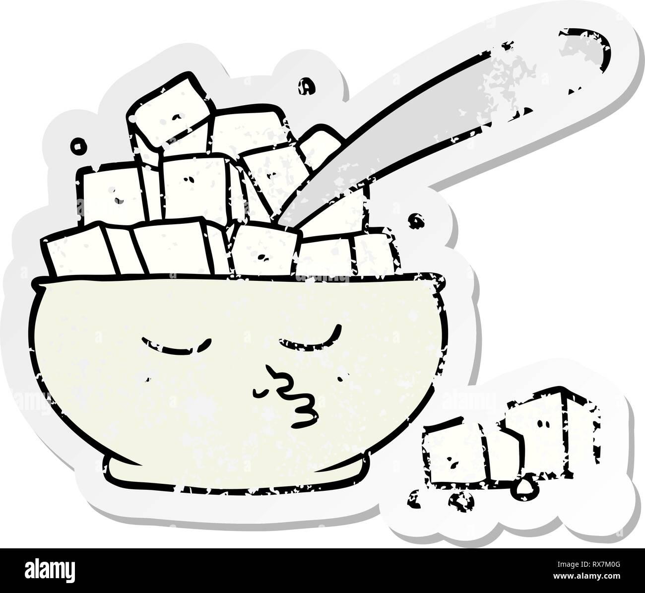 Pegatina angustiado de una historieta Sugar Bowl Ilustración del Vector