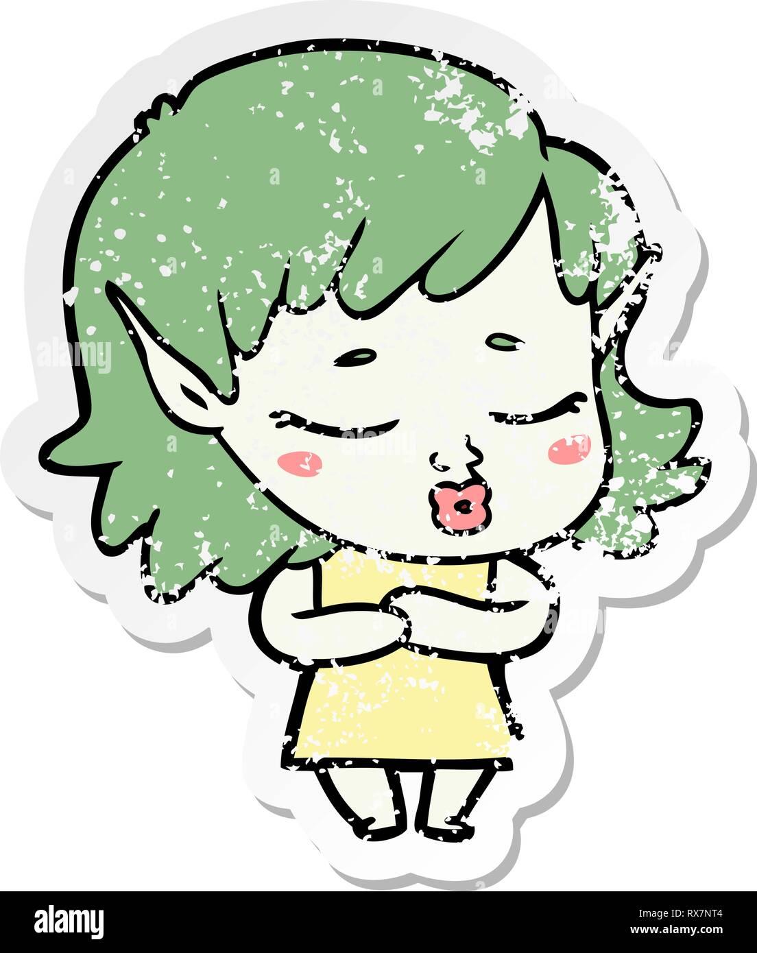 Pegatina angustiado de un tímido cartoon elfo chica Ilustración del Vector