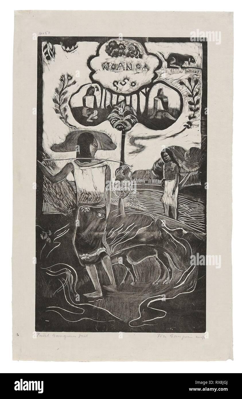 Noa Noa (aromático), desde la Suite Noa Noa. Paul Gauguin (Francés, 1848-1903); impreso por Pola Gauguin (Danés, nacido en Francia, 1883-1961); publicado por Christian Cato, Copenhague. Fecha: 1893-1894. Dimensiones: 355 x 205 mm (imagen); 422 × 265 mm (hoja). Bloque de madera imprimir con tinta negra en papel de China de marfil grisáceo. Origen: Francia. Museo: El Instituto de Arte de Chicago. Foto de stock